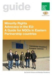 """Cover of """"Minority Rights Advocacy in the EU: A Guide for NGOs in Eastern Partnership countries"""""""